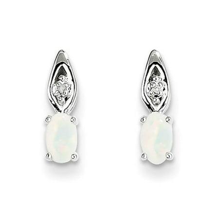 14k White Gold 0.4IN Long 5x3 Oval Genuine Opal Diamond Earrings