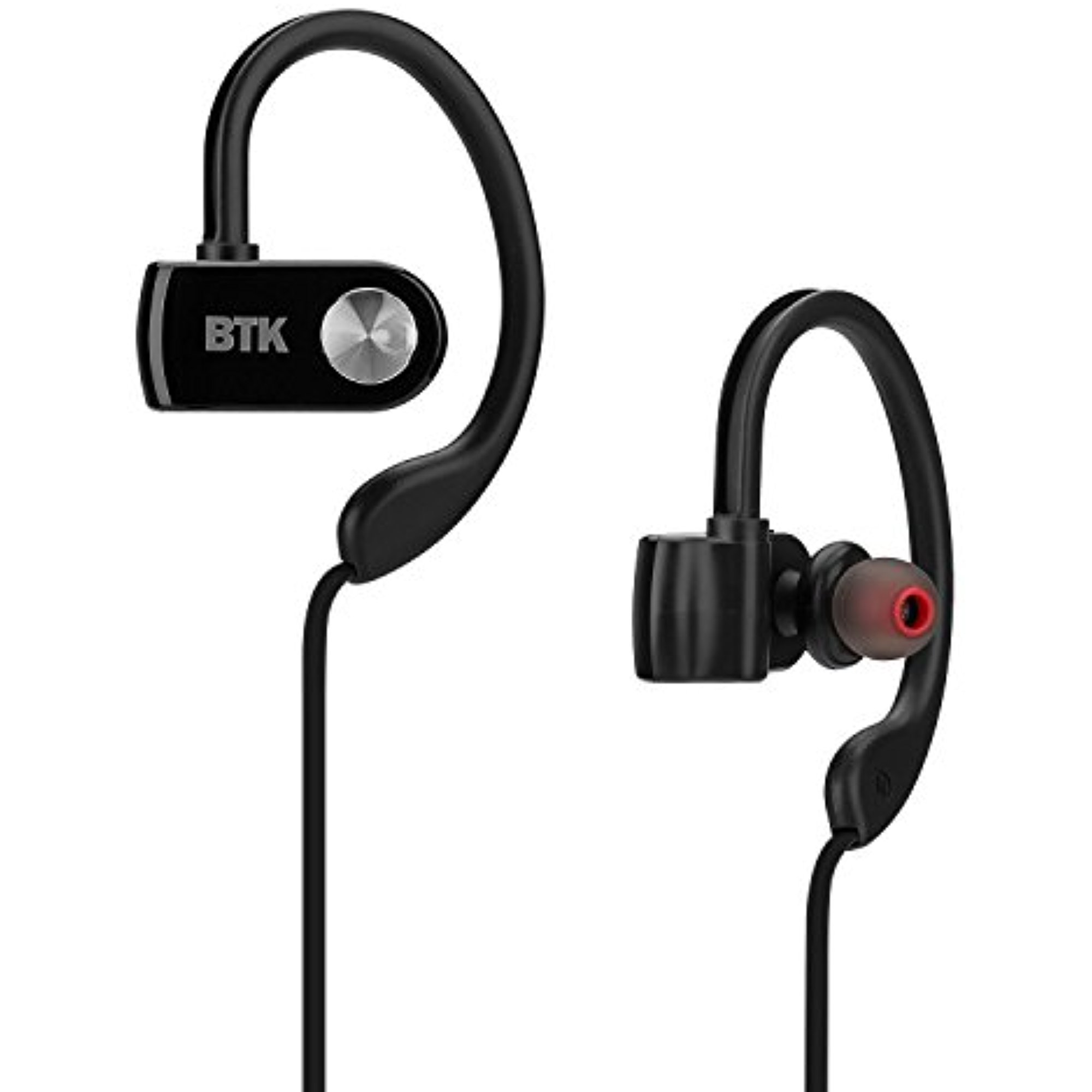 Bluetooth Headphones Sport Running Wireless Noise Cancelling Headphones In Ear Earbuds with Mic and Apt-X Ear Hook for Samsung iPhone Mobile Phones (Black)