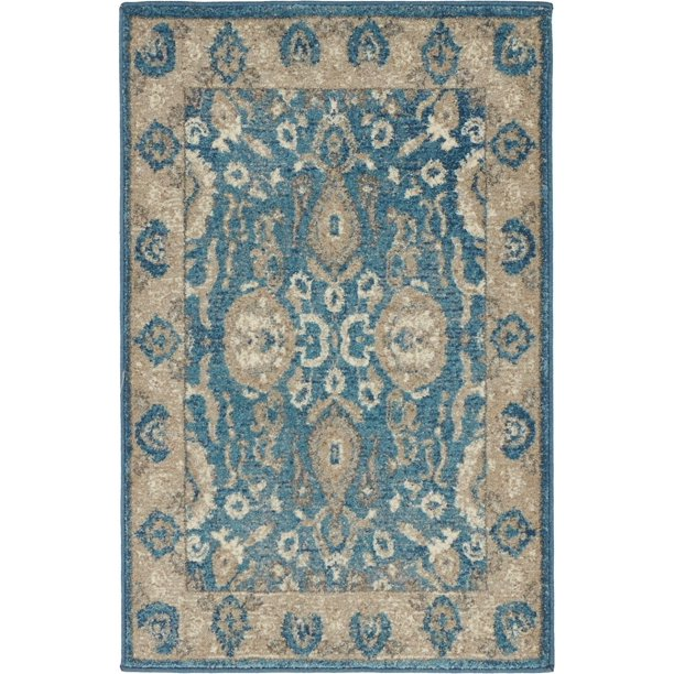 Transitional Linz Collection Area Rug In Porcelain Color And Rectangle Round Runner Square Shape Walmart Com Walmart Com