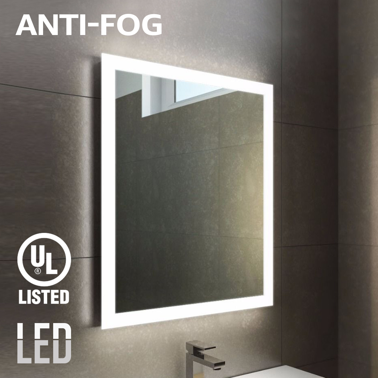 Anti-fogging mirror with LED Light, Makeup Mirror, Wall Mounted Vanity Silver Mirror for Bathroom, Exterior Strips