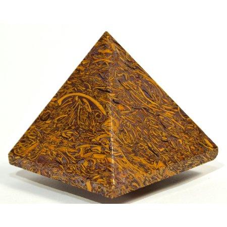"2.1"" 135g Mariyam Jasper Holly Stone Fossil Pyramid Natural Coquina Jasper / Elephant Skin Mineral Polished Crystal Arabic Calligraphy Scriptstone - India"