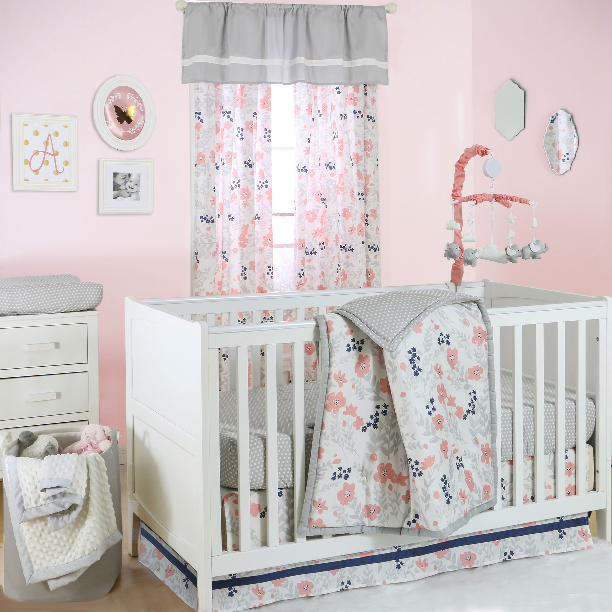 The Peanut Shell 4 Piece Baby Crib Bedding Set - Coral, Navy Blue, and Grey Floral with Grey Dots - 100% Cotton Quilt, Dust Ruffle, Fitted Sheet, and Mobile