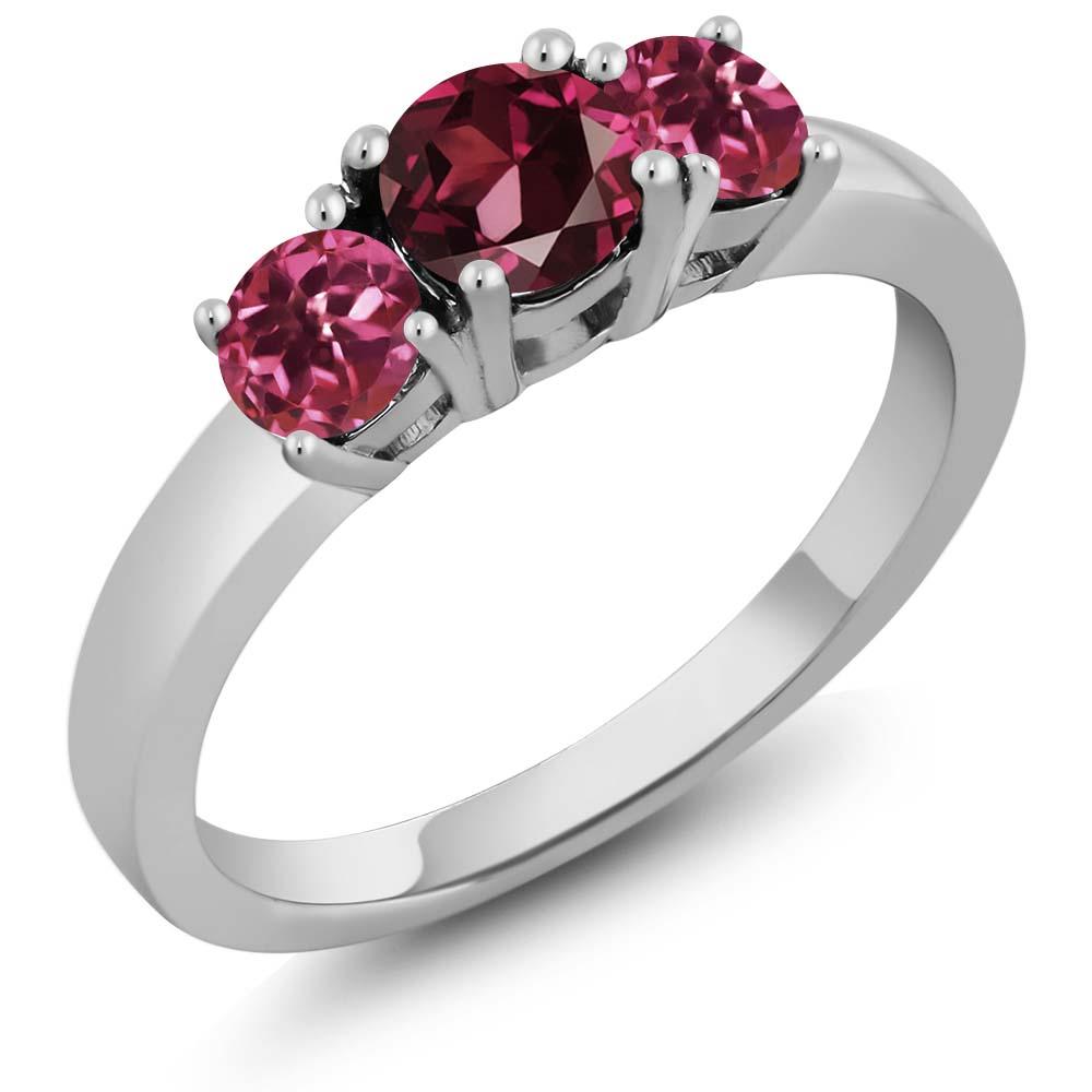 1.12 Ct Round Red Rhodolite Garnet Pink Tourmaline 18K White Gold 3-Stone Ring by