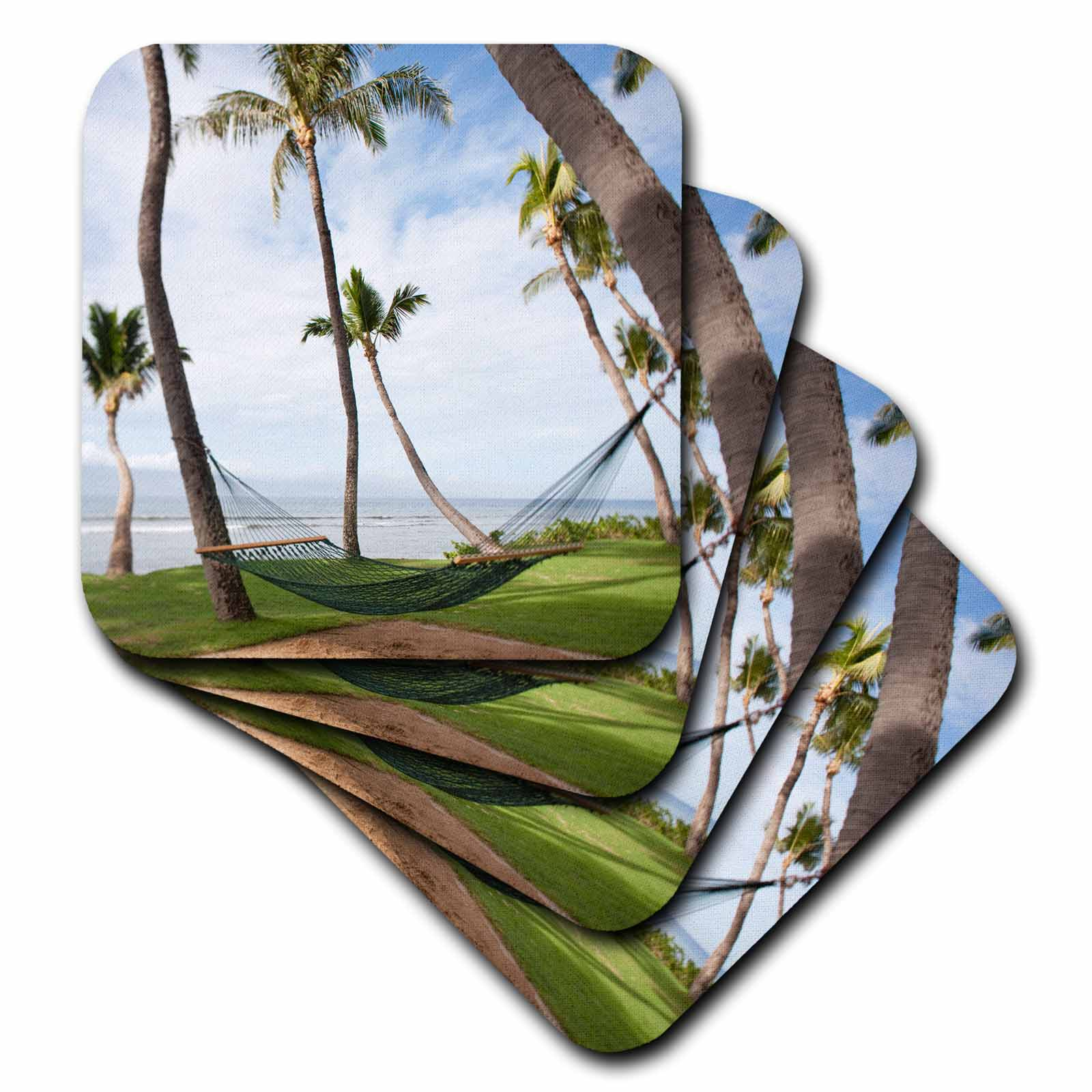 3dRose Hammock under Hawaiian palm trees, Maui, Hawaii US10 JGS0038 Jim Goldstein, Ceramic Tile Coasters, set of 4 by 3dRose