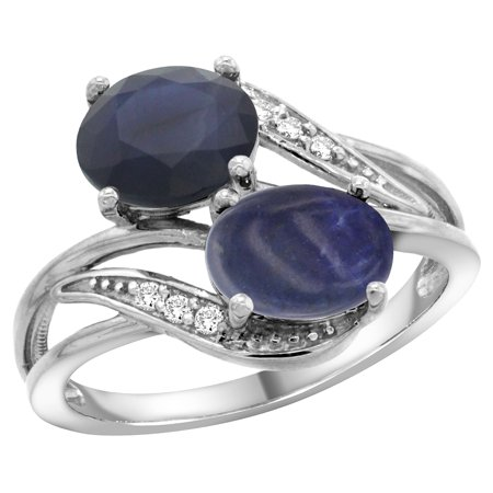 14K White Gold Diamond Natural Blue Sapphire & Lapis 2-stone Ring Oval 8x6mm, sizes 5 - 10