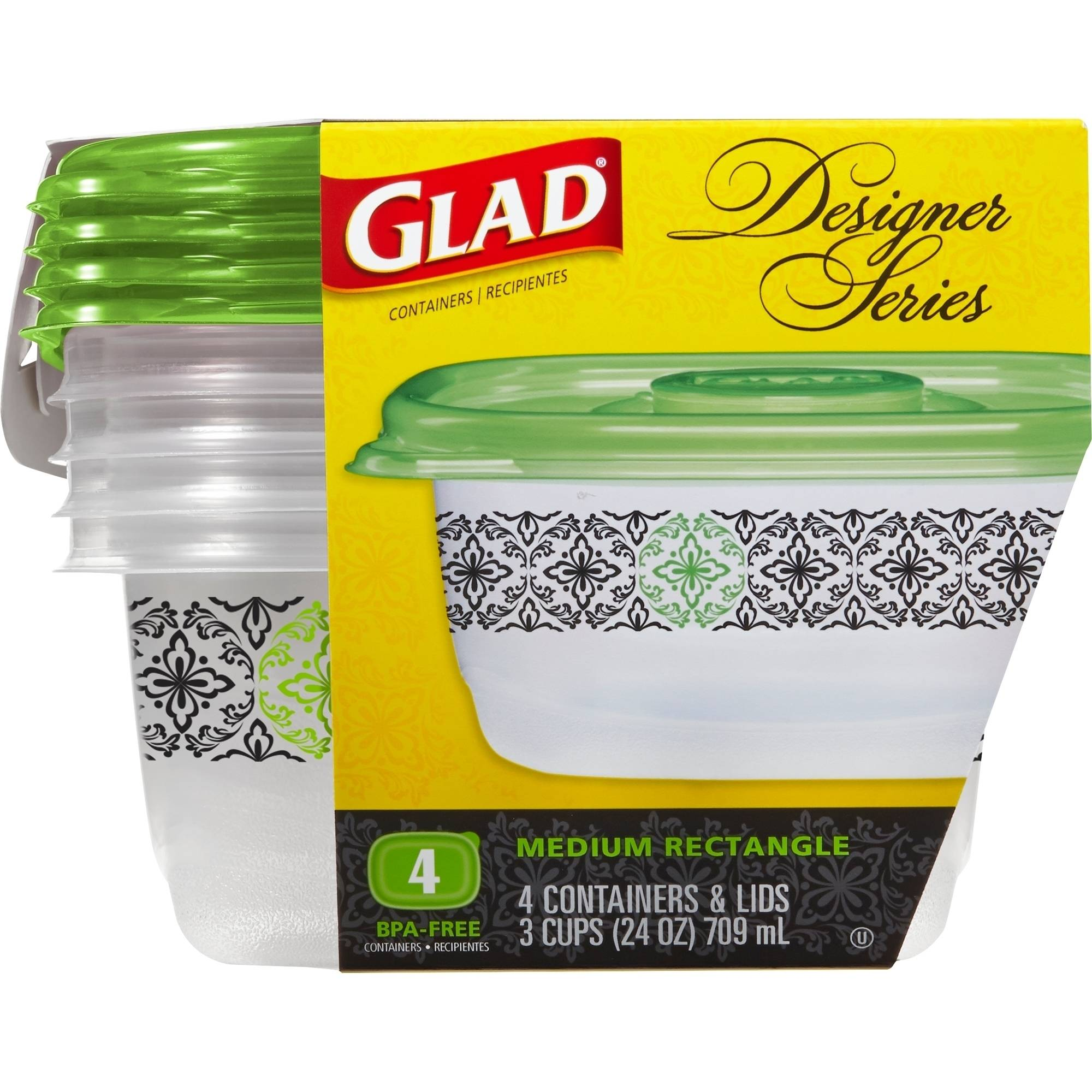 Glad Designer Series Medium Rectangle Food Storage Containers, 24 oz, 8 pc