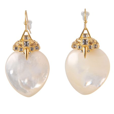 (De Buman  18k Rose Gold Plated Red Agate or 18k Yellow Gold Plated Mother of Pearl with Crystal Earrings)