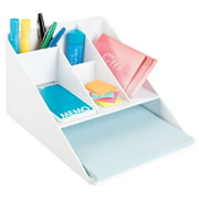 InterDesign Linus Office Supplies Desk Organizer with Paper Tray, White