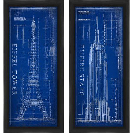 Framed graphic city blueprint wall art set of 2 walmart framed graphic city blueprint wall art malvernweather Gallery