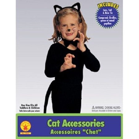 Child Girls Black Kitty Cat Animal Ears Tail Kit Set Halloween Costume - Animal Ears Costume
