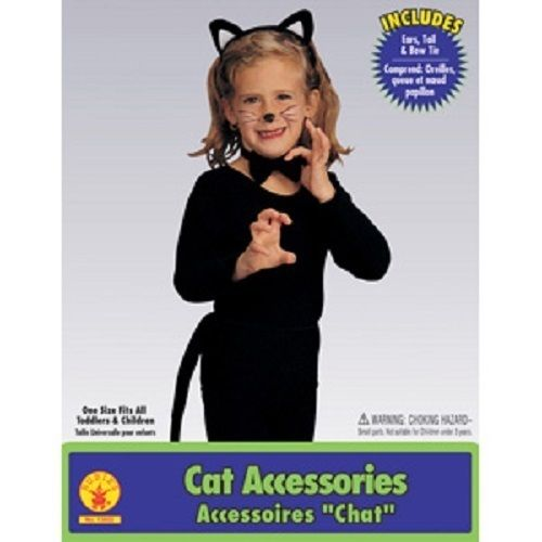 Child Girls Black Kitty Cat Animal Ears Tail Kit Set Halloween Costume Accessory