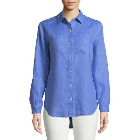b261fa0cbe9ff Lord   Taylor - Plus Tiffany Crinkle Linen Button-Down Shirt - Walmart.com