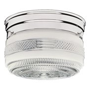 Design House 501999 Traditional 2-Light Indoor Ceiling Mount Dimmable Clear Prismatic Glass for Bedroom Hallway Kitchen Dining Room, Polished Chrome