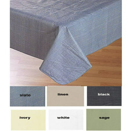 Simple Elegance by Bon Appetit Solid Color Vinyl Tablecloth with Polyester Flannel Backing - Slate Rectangle (52