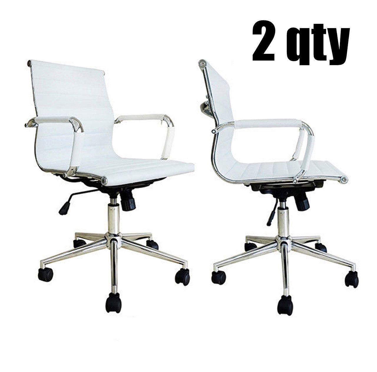 2xhome Set of 2 - Black Modern Mid Back Ribbed PU Leather Swivel Tilt Adjustable Office Chair Armless Designer Boss Executive Management Manager Conference Room Work Task Computer