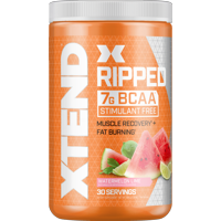 Xtend Ripped BCAA Powder, Stimulant Free Fat Burner + Sugar Free Post Workout Muscle Recovery Drink with Amino Acids, 7g BCAAs for Men & Women, Watermelon Lime, 30 Servings