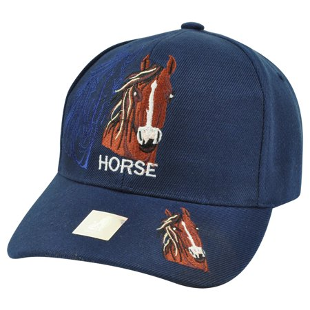 Horse Animal Navy Blue Shadow Country Mustang Broncos Hat Cap Riding - Horse Hat