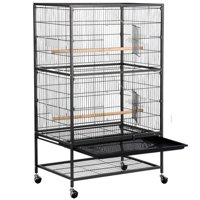 Yaheetech 52''Bird Cage Large Wrought Iron Flight Cage with Rolling Stand+2 Doors+4 Feeder Trays+2 Perches for Parrot Cockatiel Cockatoo Parakeet Finches