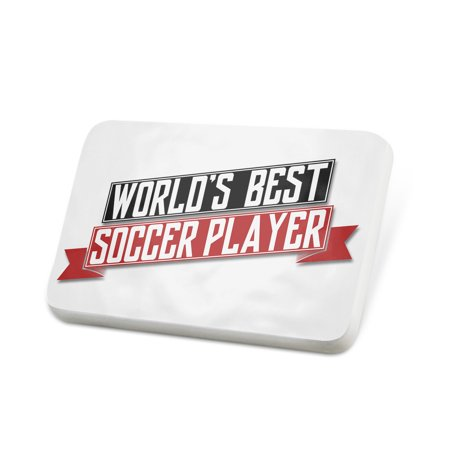 Porcelein Pin Worlds Best Soccer Player Lapel Badge – (Best Soccer Player In The World 2019)