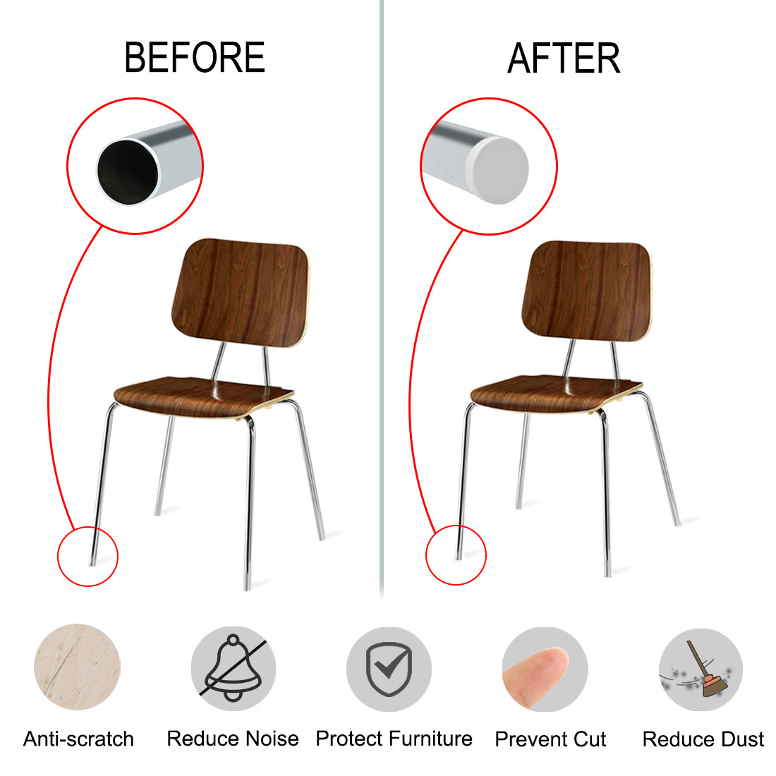 """2"""" 50mm OD Plastic Pipe Tube Insert Floor Protector, 0.63""""-0.71"""" Inner Dia 10pcs - image 4 of 7"""