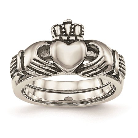 Steel Love, Loyalty, Friendship Claddagh Double Hinged Ring Size 6