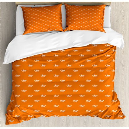 Gecko Duvet Cover Set King Size, Silhouettes of Lizards Gecko Pattern on Warm Colored Backdrop Exotic Wildlife, Decorative 3 Piece Bedding Set with 2 Pillow Shams, White and Orange, by Ambesonne (Exotic Lizard)
