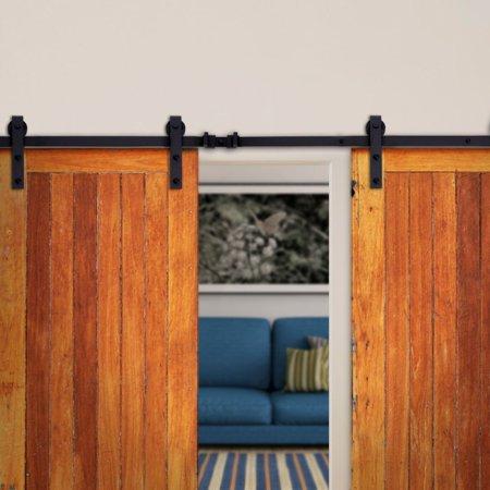 NEW 12' FT Dark Coffee Antique Double Sliding Barn Door Steel Track Hardware Set