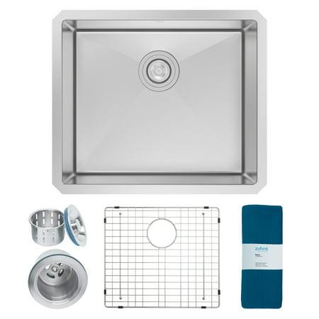 Zuhne 21 Inch Undermount Single Bowl 16 Gauge Stainless Steel Kitchen Sink  for 24 Inch Cabinet