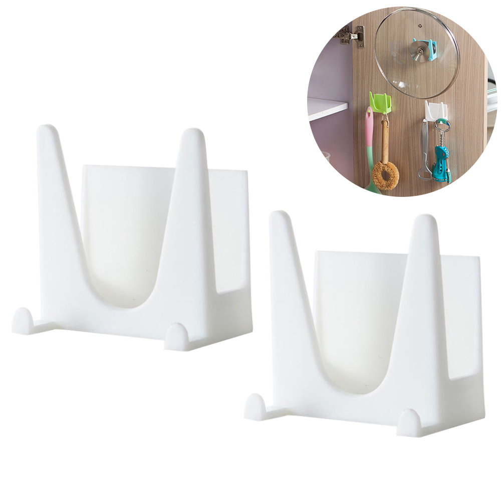 2pcs Wall Mounted Plastic Pan Cover Rack Pot Lid Holder Kitchen Cooking  Tool Organizer Storage Shelf