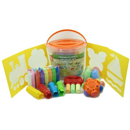 Play Day 52-Piece Chalk Activity Bucket