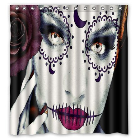 Halloween Window Paintings (Ganma Print Design Halloween Face Pink Painting Shower Curtain Polyester Fabric Bathroom Shower Curtain 66x72)