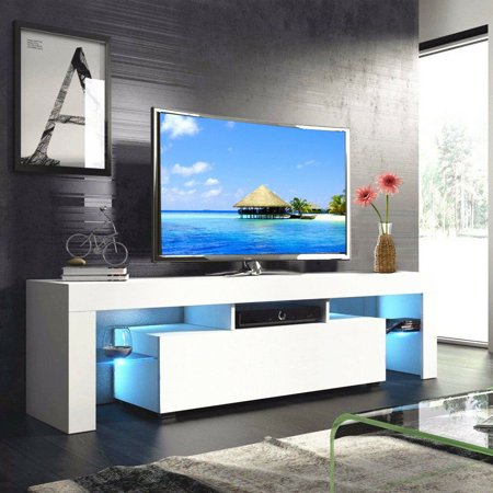 High Gloss TV Stand Unit Storage Console Cabinet Furniture With LED Drawer and Shelves Furniture - 3 Colors ()