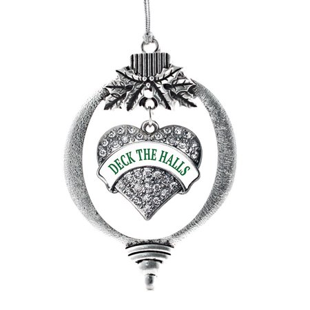 - Deck the Halls Pave Heart Holiday Ornament