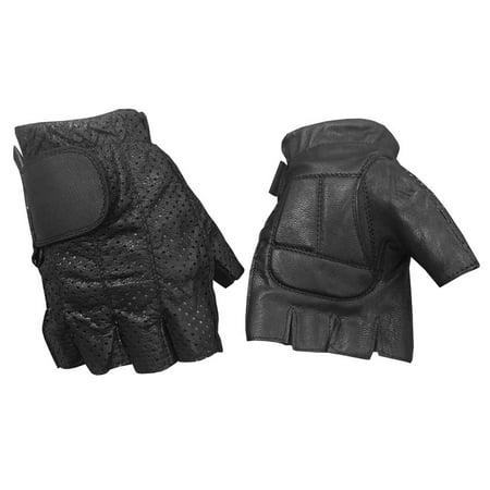 289c536272763d Redline Men's Perforated Fingerless Motorcycle Leather Gloves, Black  G-059PR - Walmart.com