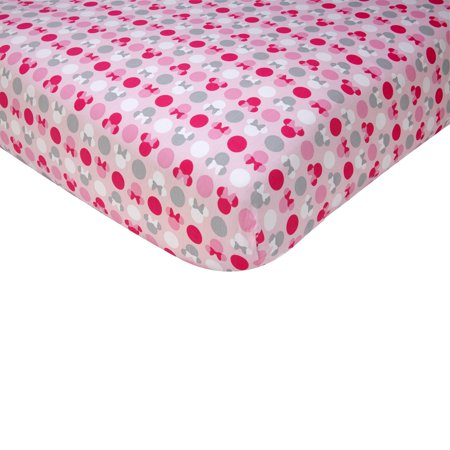 Disney Minnie Mouse Polka Dots 100% Cotton Fitted Crib Sheet
