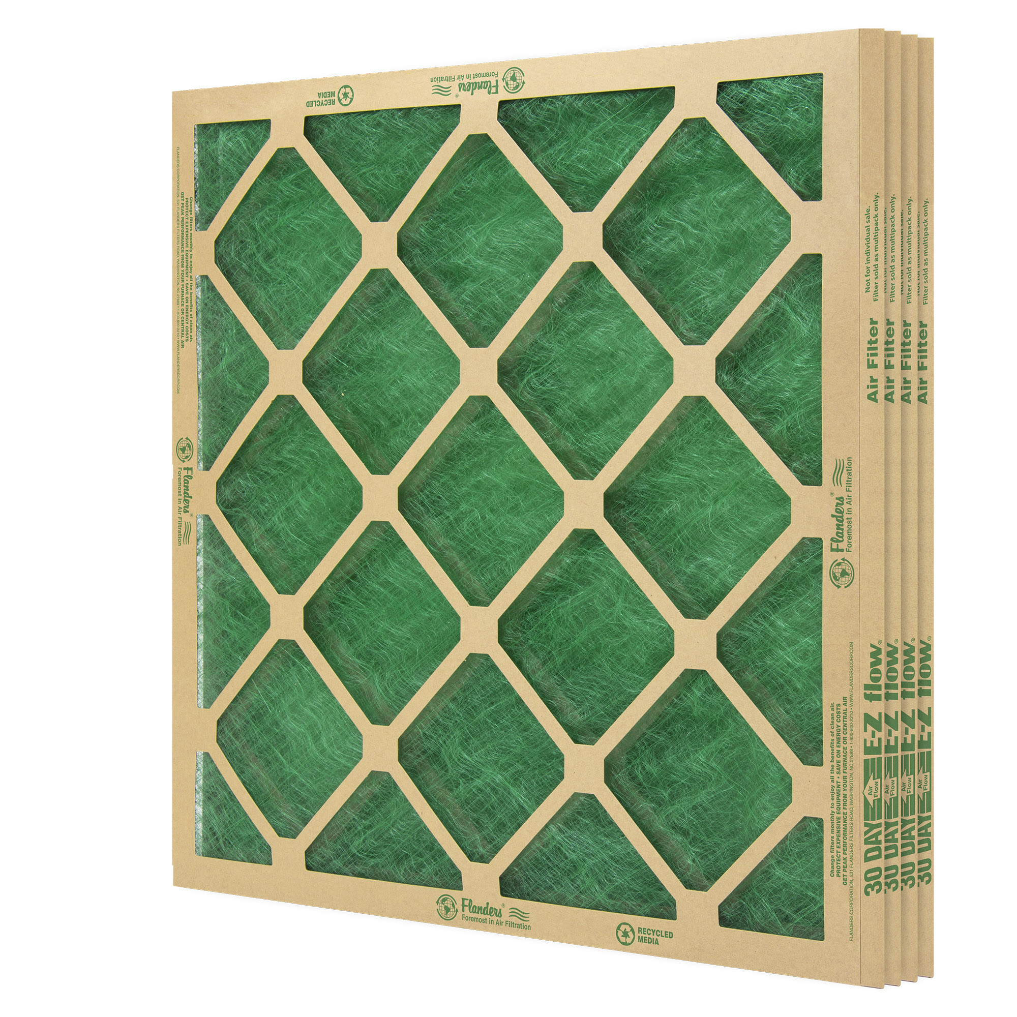 """Flanders (4 Filters), 18"""" X 30"""" X 1"""" Precisionaire Nested Glass Air Filter"""