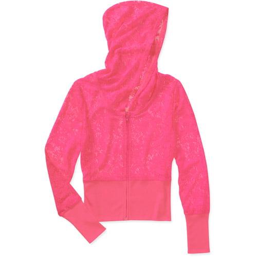 No Boundaries Juniors Zip Front Lace Hoodie
