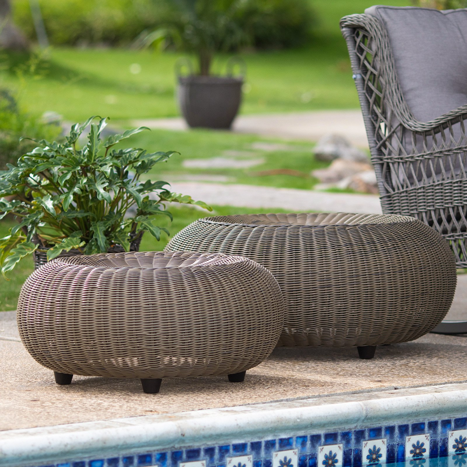 Belham Living Carlena All Weather Wicker Round Outdoor Ottoman