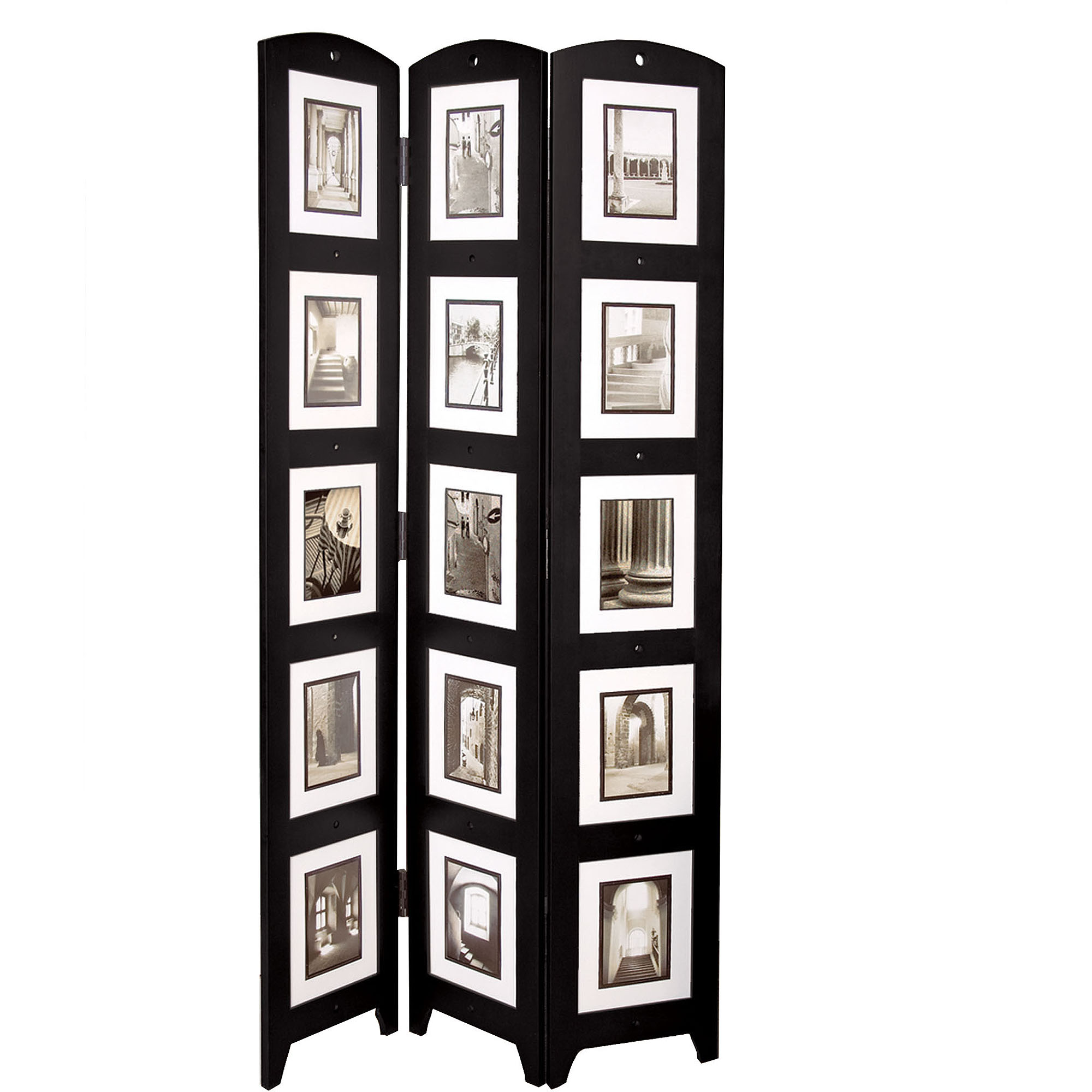 kiera grace triple panel black photo screen room divider holds 15 photos 33 x 645 walmartcom