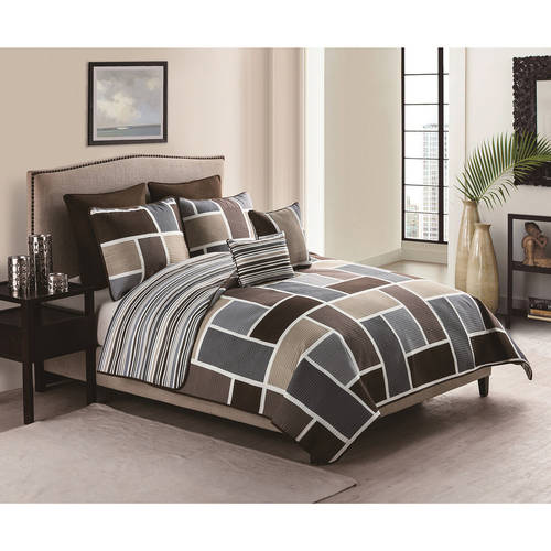 VCNY Morgan 7-Piece Multi-Colored Geometric Stripe Reversible Bedding Quilt Set with Euro Shams, Multiple Colors Available