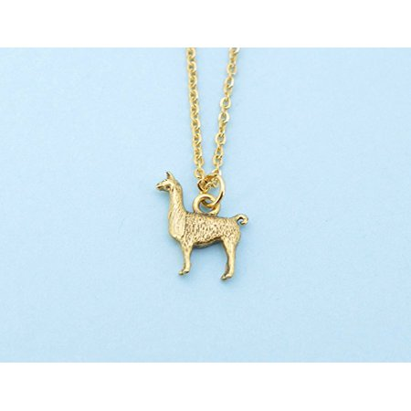Llama necklace in gold plated pewter on an 18 gold plated cable chain. Llama necklace. Llama jewelry. Llama charm. Llama - Llama Jewelry