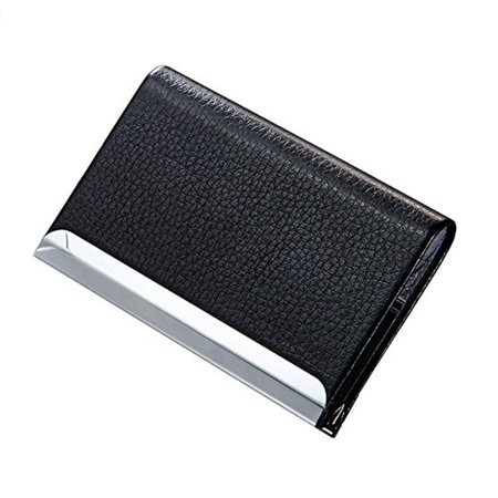 Black Pocket PU Leather Business ID Credit Card Holder Case Wallet with Magnetic (Soho Magnetic Card Case)