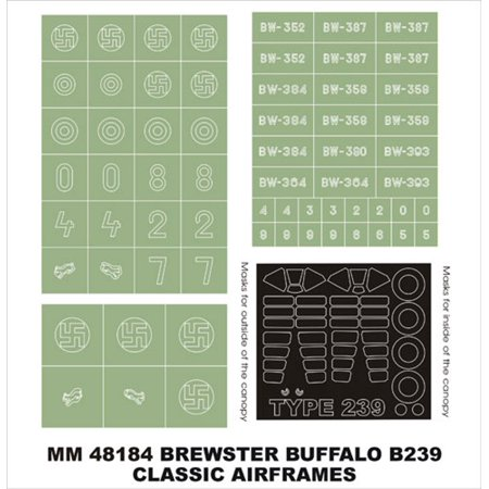 Montex Maxi Mask 1:48 Buffalo B239 for Classic Airframes 4101 Spencil #MM48184 (Buffalo Mask)