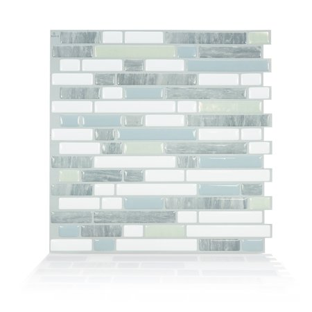 Smart Tiles 10.06 in x 10 in Peel and Stick Self-Adhesive Mosaic Backsplash Wall Tile - Bellagio Costa (each) 0.875' Glass Mosaic Tile