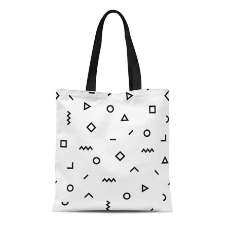 JSDART Canvas Tote Bag Hipster Pattern Black and White Geometric Forms Line Triangle Durable Reusable Shopping Shoulder Grocery Bag - image 1 of 1