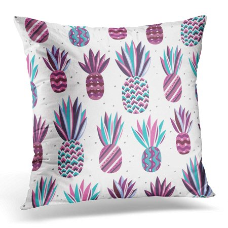 ECCOT Summer Pattern with Flat Pineapples on Bright Dots Pink Violet Purple Blue and Turquoise Colors Good Pillowcase Pillow Cover Cushion Case 16x16 inch](Purple And Turquoise)