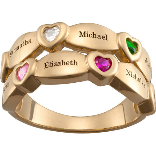 Personalized Women's Gold over Silver Family Name and Birthstone Faux Stack Ring
