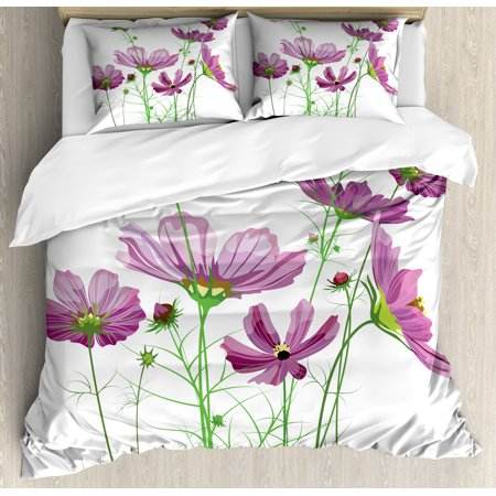 Green Flower Duvet Cover Set, Cosmos Bipinnatus Pattern Spring Season Flora Asteraceae Bloom Botany Element, Decorative Bedding Set with Pillow Shams, Lilac Green, by Ambesonne
