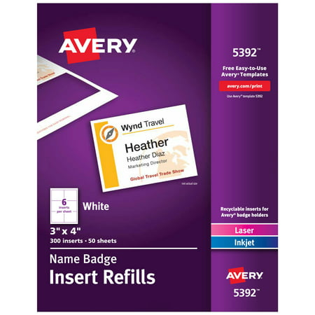 Avery Name Badge Insert Refills, 3
