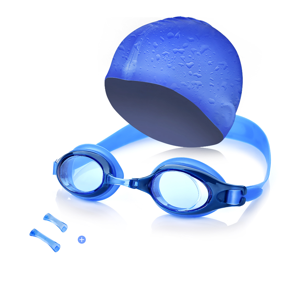 Kids Swim Kit Swim Goggles and Swim Cap, Perfect for Swimming,Diving, Snorkeling, Surfing (Blue) by